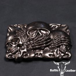 Metal Belt Buckle - Hellfire Skull