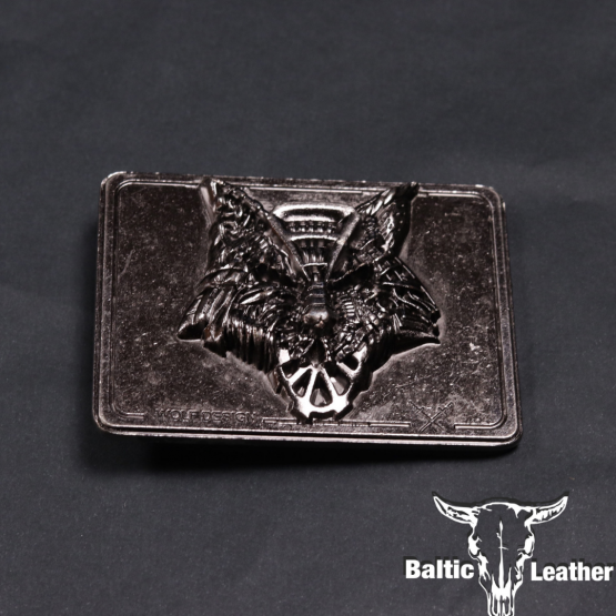 Metal Belt Buckle - Steel Wolf